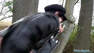 Public Agent Mouthful of cum and screw for sexy black-haired honey Sasha Colibri
