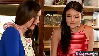 Mom (Adria Rae) pounds step daughter (Kendra Lust) in the kitchen - Twistys