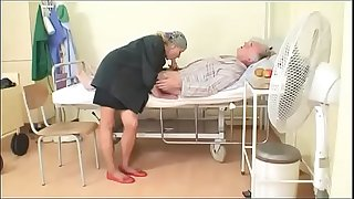 Sexy young nurse gives a deepthroat job to an old pig in hospital