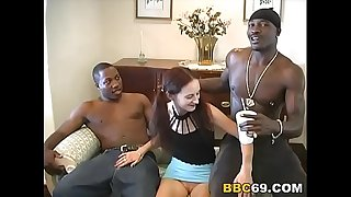 Petite Joli Does Anal In Threesome Action